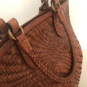 Cole Haan Bags - Cole Haan Woven huarache Leather Bucket Tote Bag